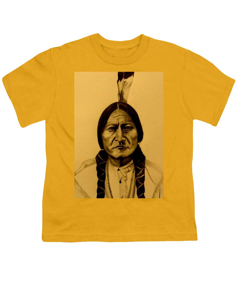 Portrait Youth T-Shirt featuring the drawing Chief Sitting Bull Tatanka Iyotake by Michelle Dallocchio