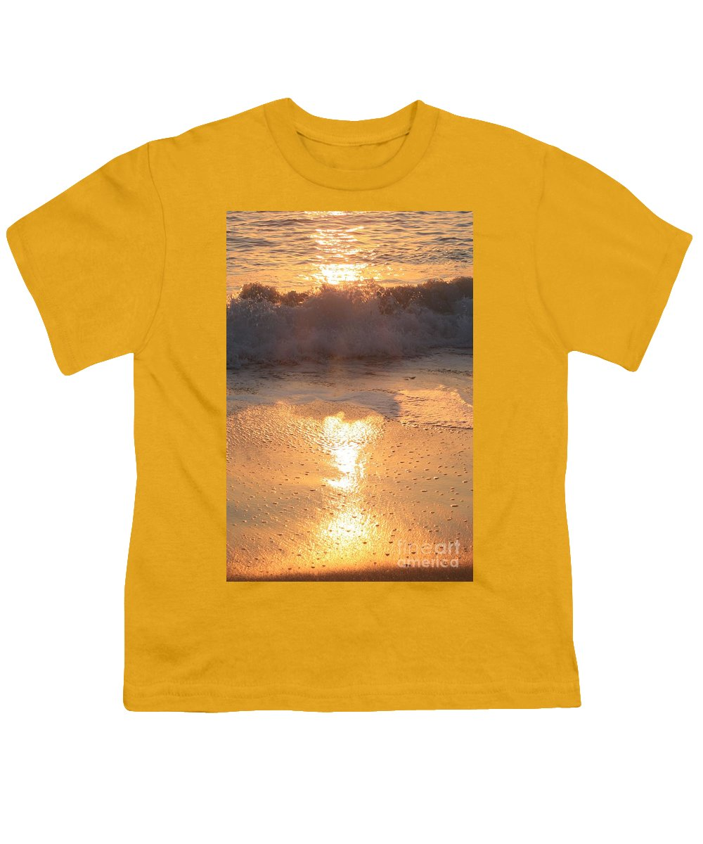 Waves Youth T-Shirt featuring the photograph Crashing Wave At Sunrise by Nadine Rippelmeyer