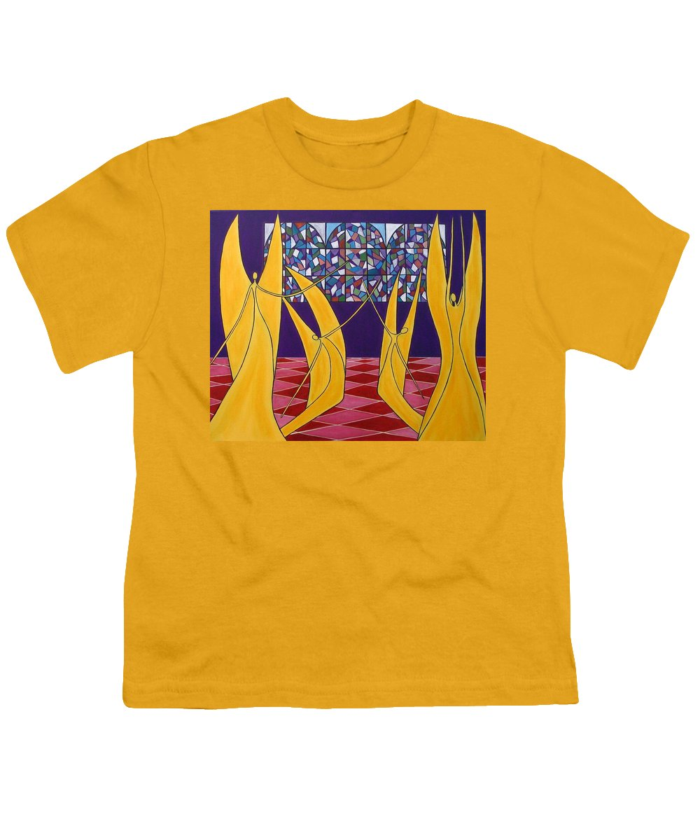 Dance Of Angels Youth T-Shirt featuring the painting Dance Of Angels by Sandra Marie Adams
