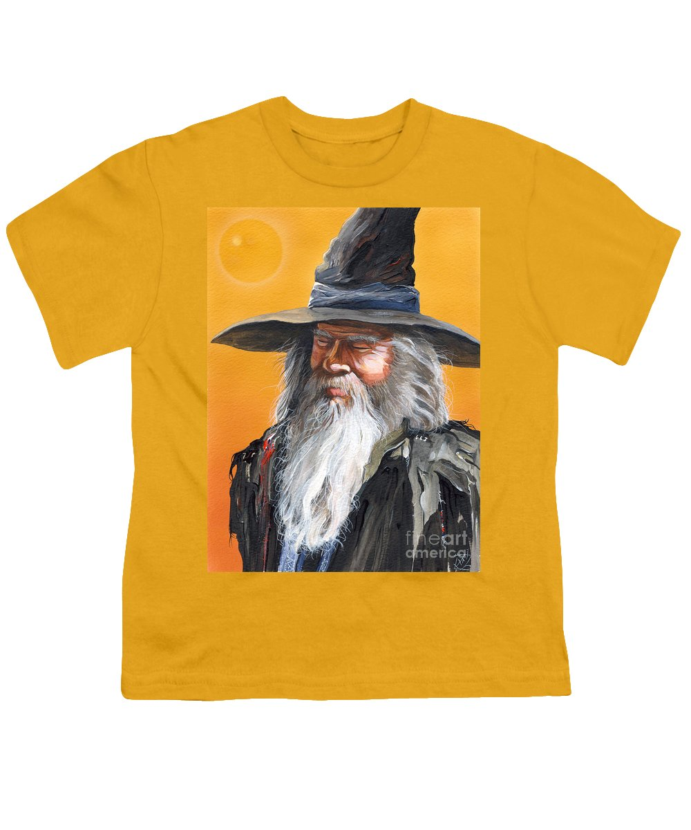 Fantasy Art Youth T-Shirt featuring the painting Daydream Wizard by J W Baker