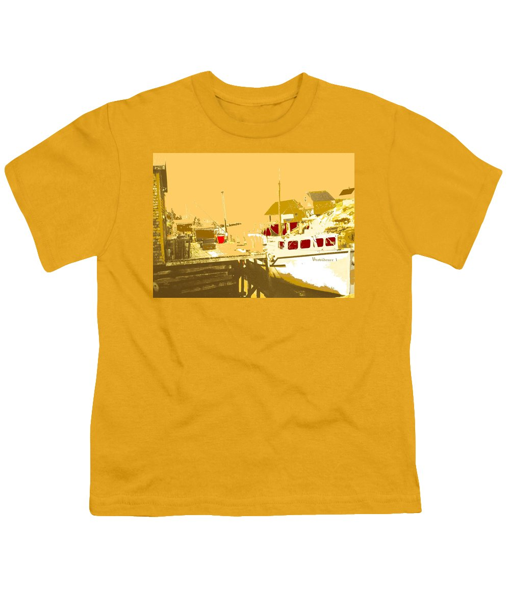 Red Youth T-Shirt featuring the photograph Fishing Boat At The Dock by Ian MacDonald