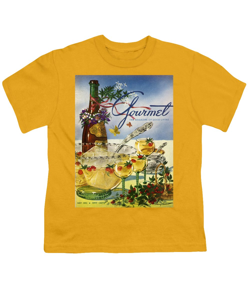 Illustration Youth T-Shirt featuring the photograph Gourmet Cover Featuring A Bowl And Glasses by Henry Stahlhut