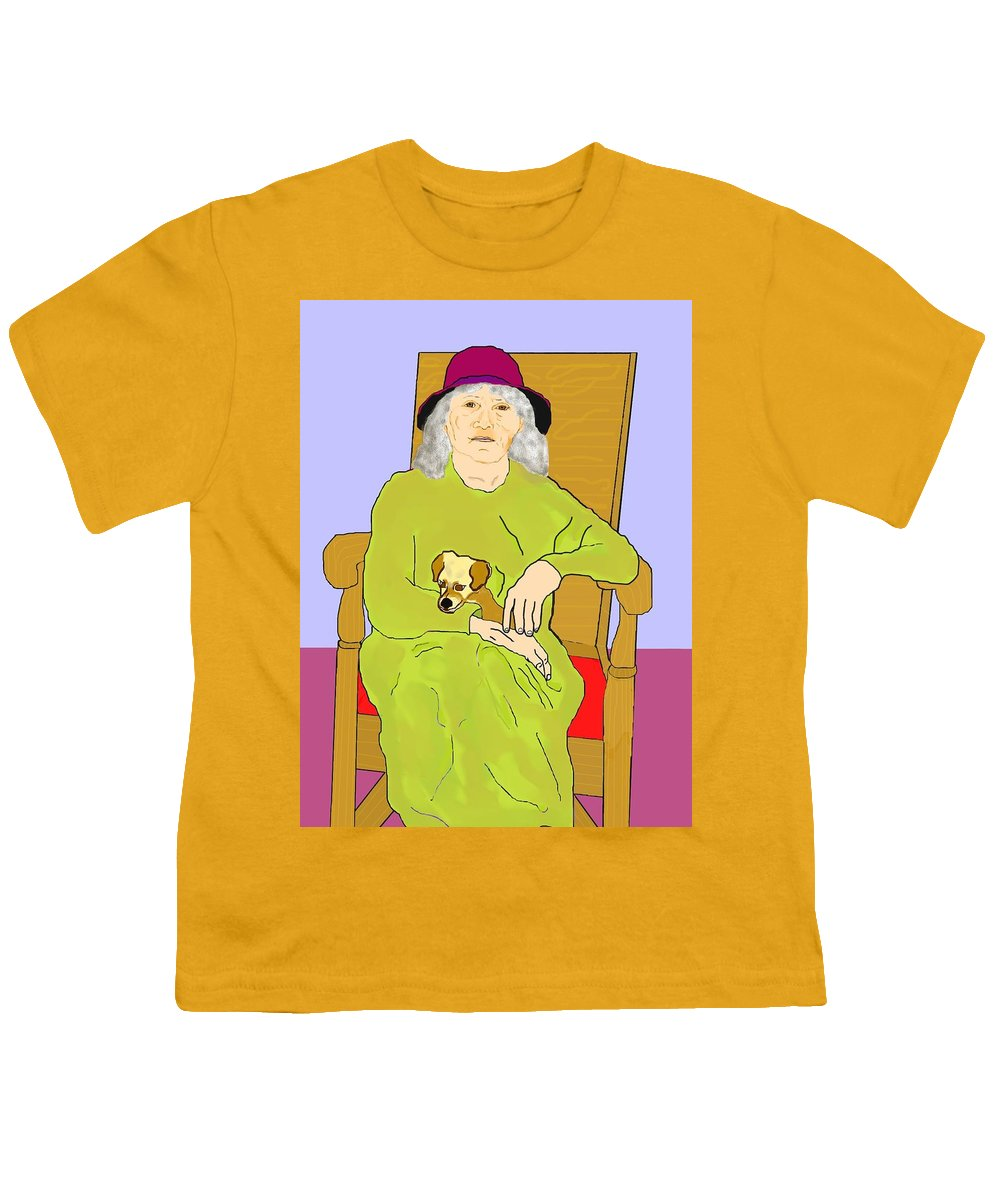Grandmother Youth T-Shirt featuring the painting Grandma And Puppy by Pharris Art
