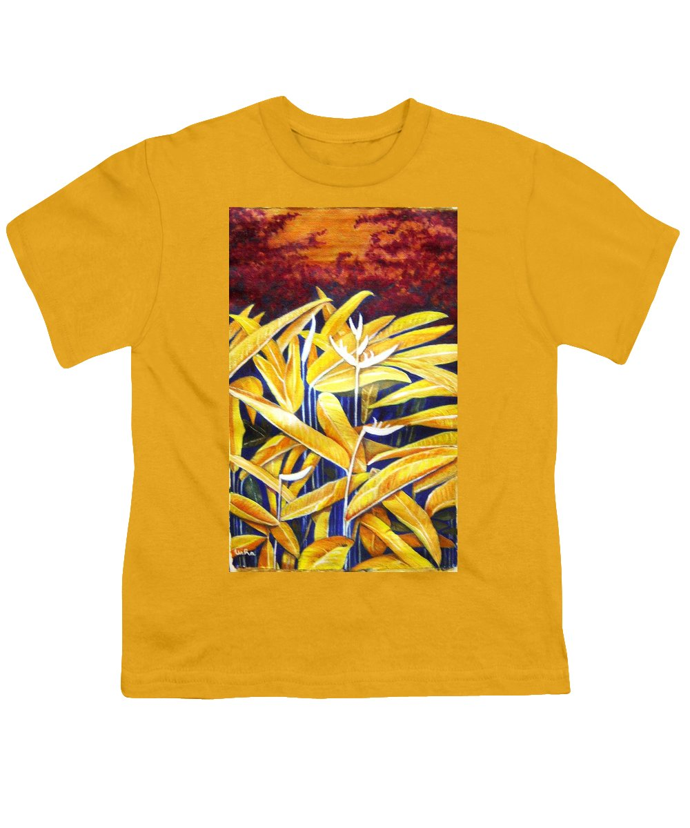 Heliconia Youth T-Shirt featuring the painting Heliconia by Usha Shantharam