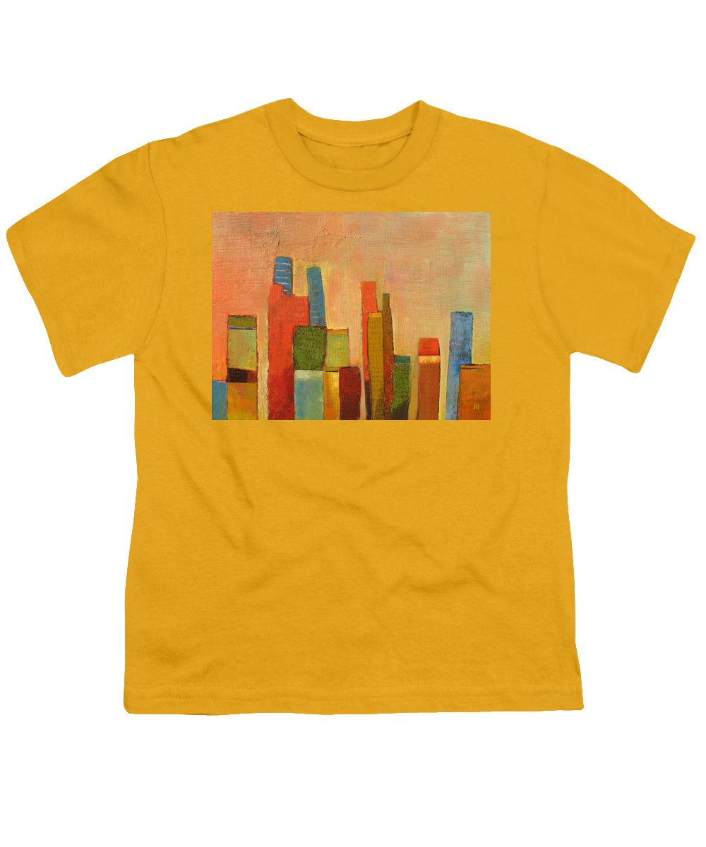 Abstract Cityscape Youth T-Shirt featuring the painting Hot Manhattan by Habib Ayat