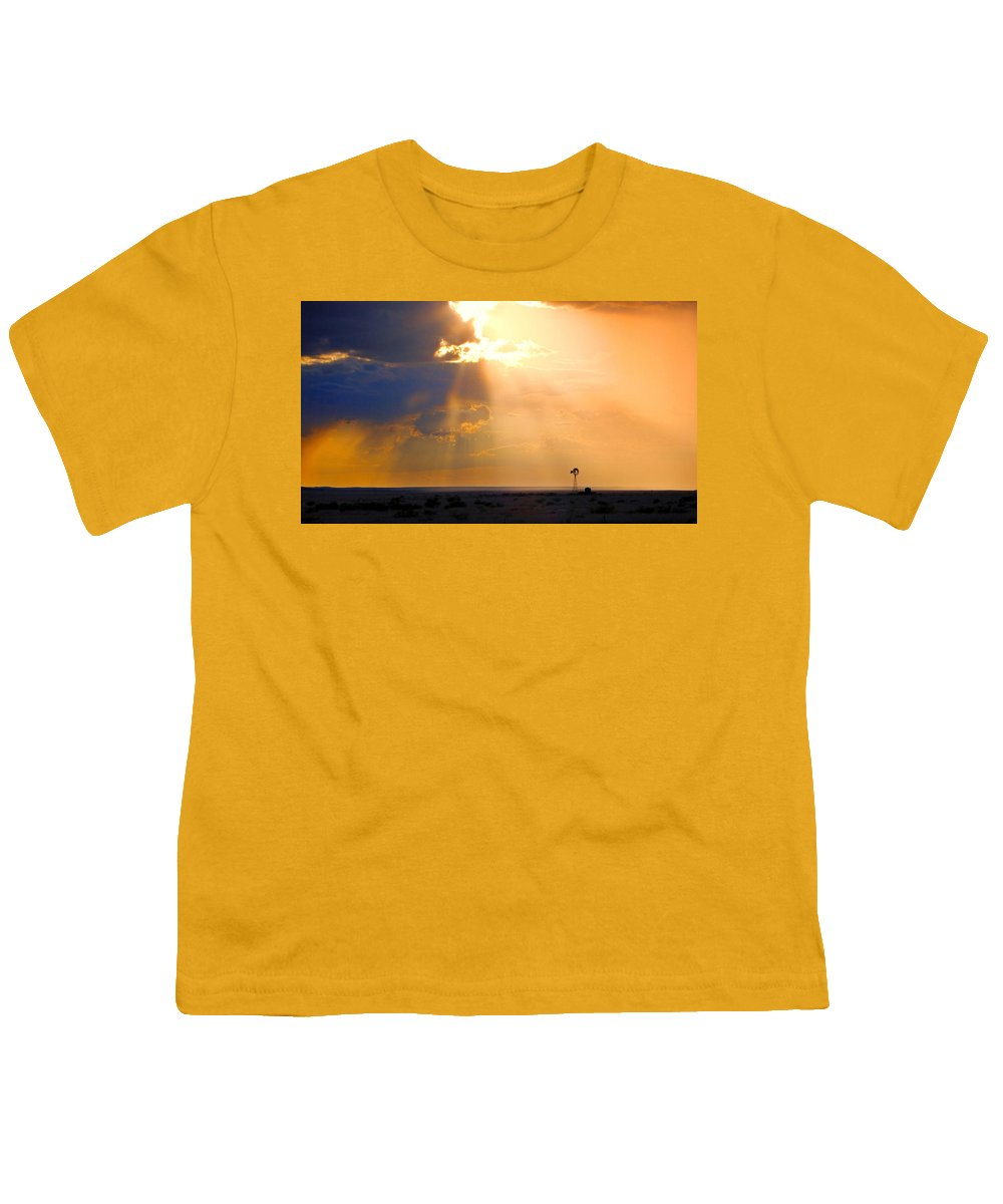 Skip Hunt Youth T-Shirt featuring the photograph Marfa Windmill 1 by Skip Hunt
