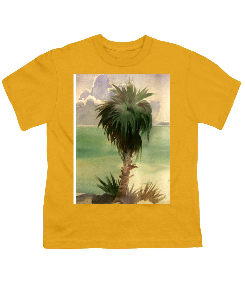 Palm Youth T-Shirt featuring the painting Palm At Horseshoe Cove by Neal Smith-Willow