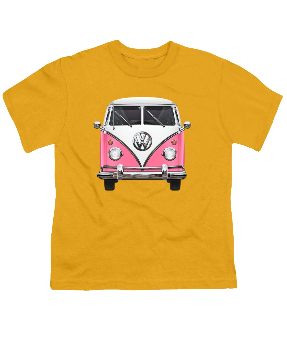 'volkswagen Type 2' Collection By Serge Averbukh Youth T-Shirt featuring the photograph Pink And White Volkswagen T 1 Samba Bus On Yellow by Serge Averbukh