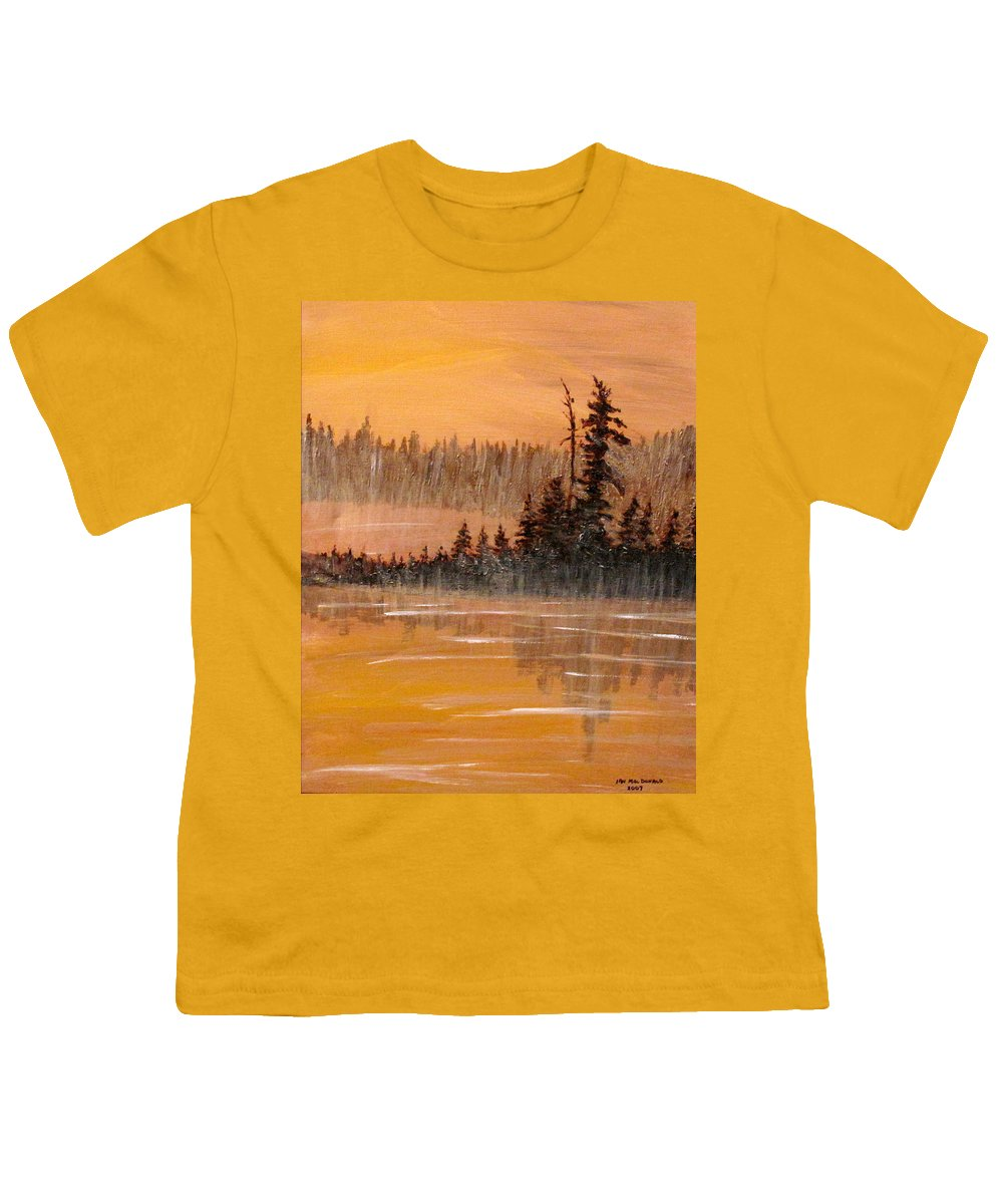 Northern Ontario Youth T-Shirt featuring the painting Rock Lake Morning 3 by Ian MacDonald