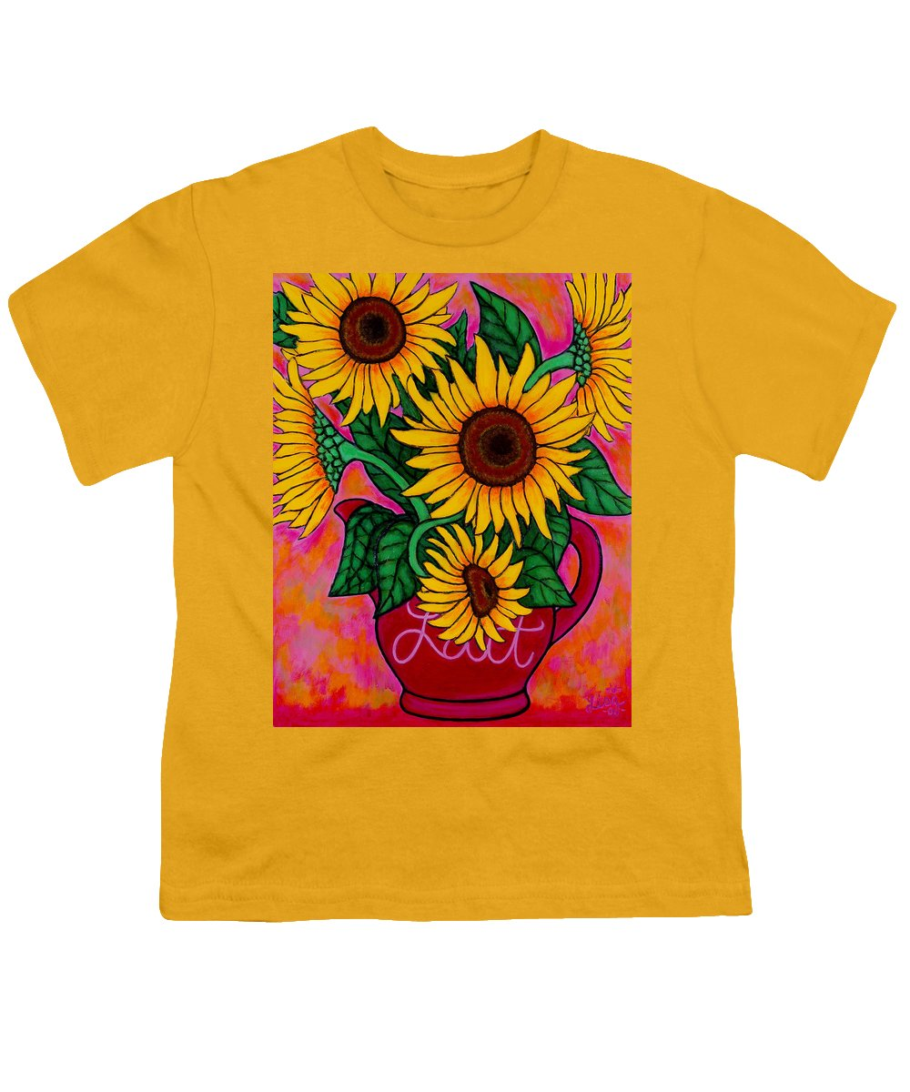 Sunflowers Youth T-Shirt featuring the painting Saturday Morning Sunflowers by Lisa Lorenz