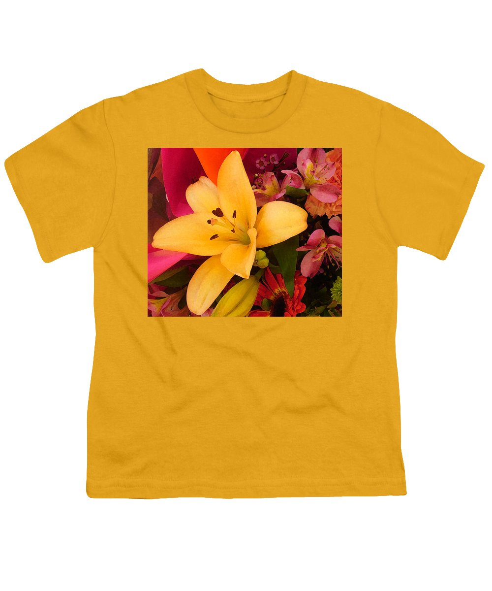 Lily Youth T-Shirt featuring the painting Spring Lily Bouquet by Amy Vangsgard