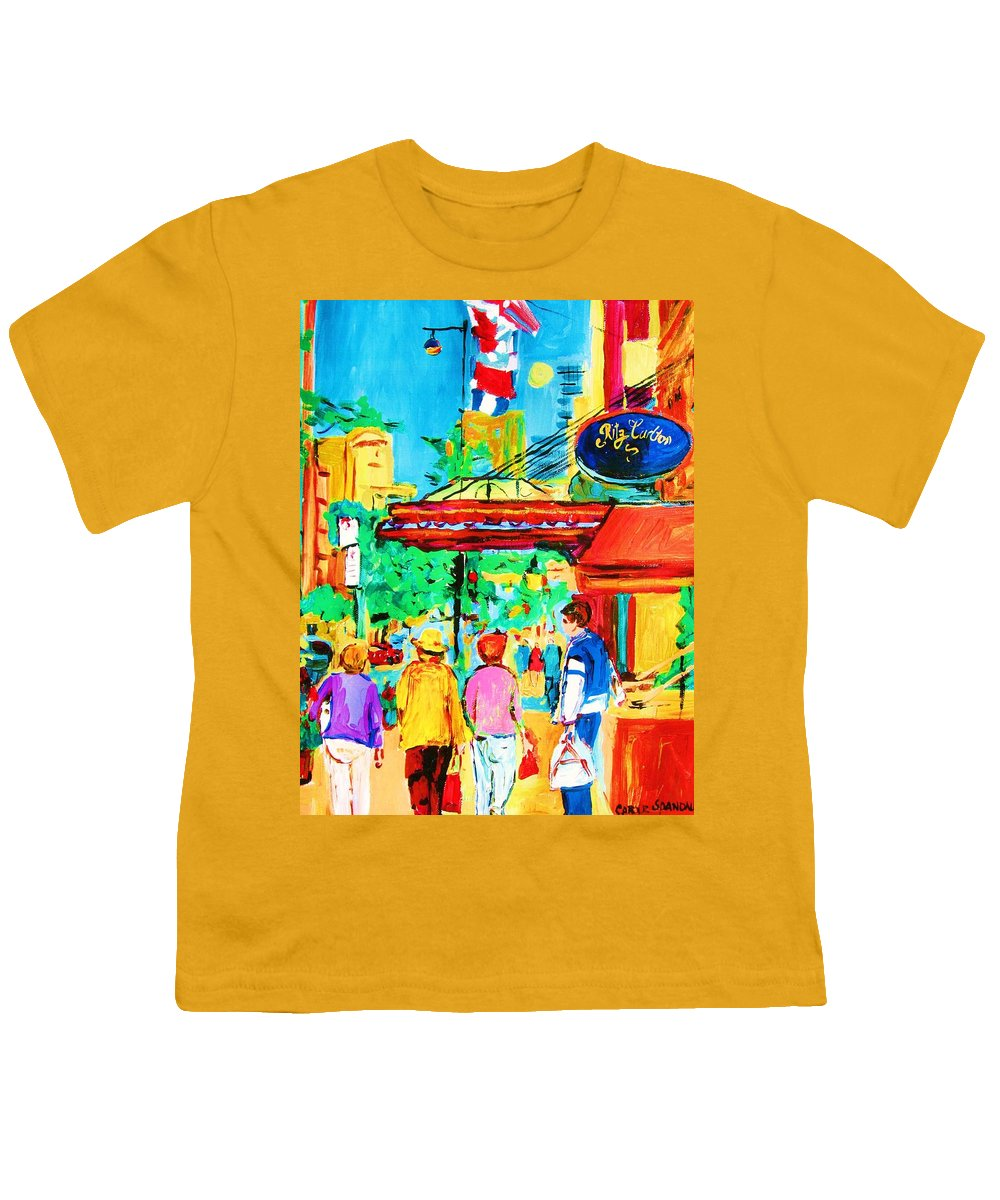 Paintings Of The Ritz Carlton On Sherbrooke Street Montreal Art Youth T-Shirt featuring the painting Springtime Stroll by Carole Spandau