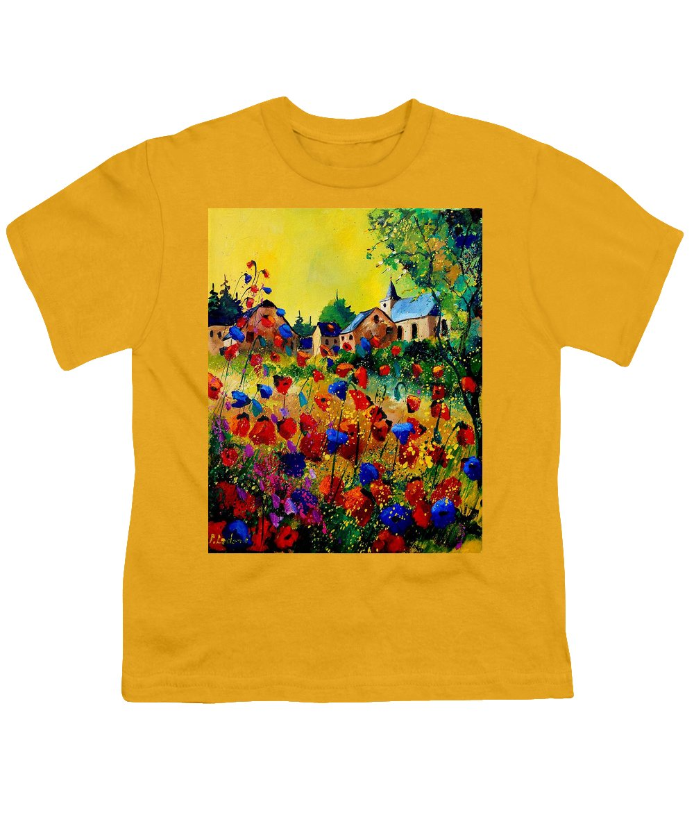 Poppy Youth T-Shirt featuring the painting Summer In Sosoye by Pol Ledent