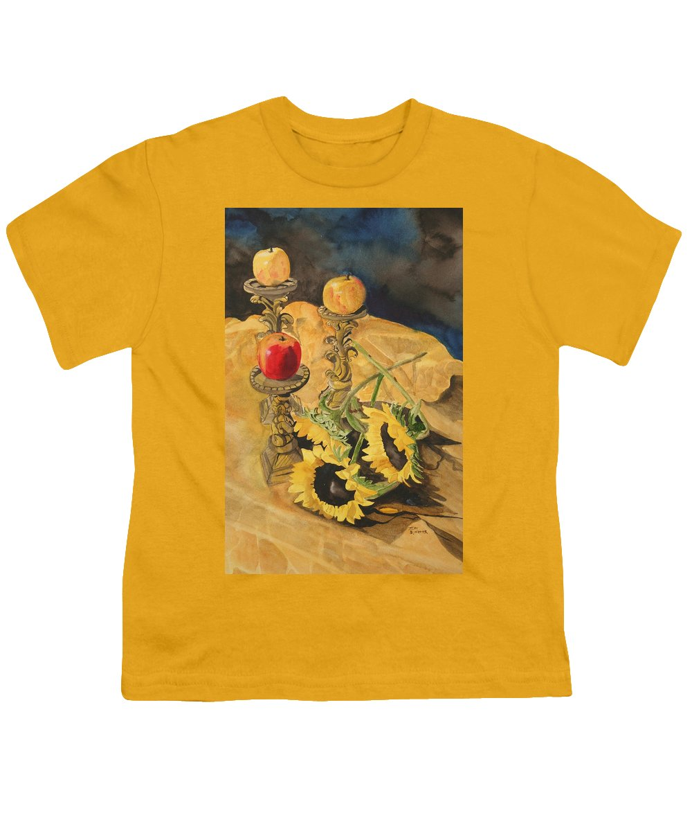 Still Life Youth T-Shirt featuring the painting Sunflowers And Apples by Jean Blackmer