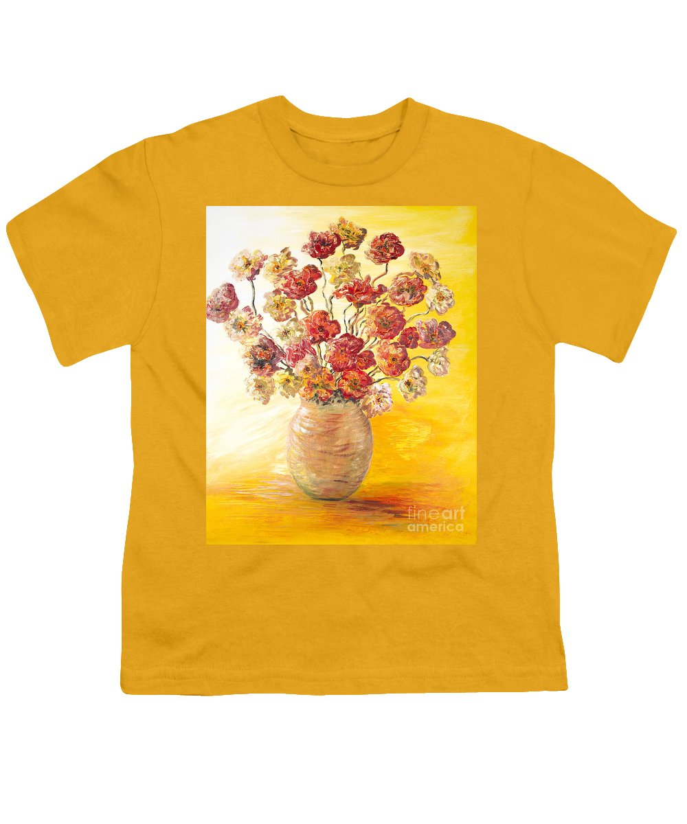 Flowers Youth T-Shirt featuring the painting Textured Flowers In A Vase by Nadine Rippelmeyer