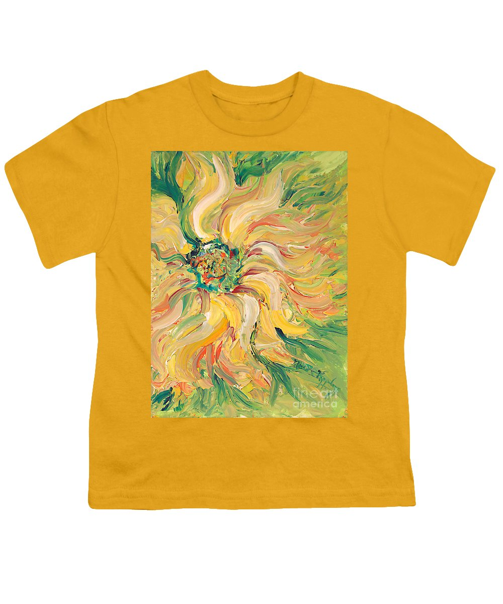 Texture Youth T-Shirt featuring the painting Textured Green Sunflower by Nadine Rippelmeyer