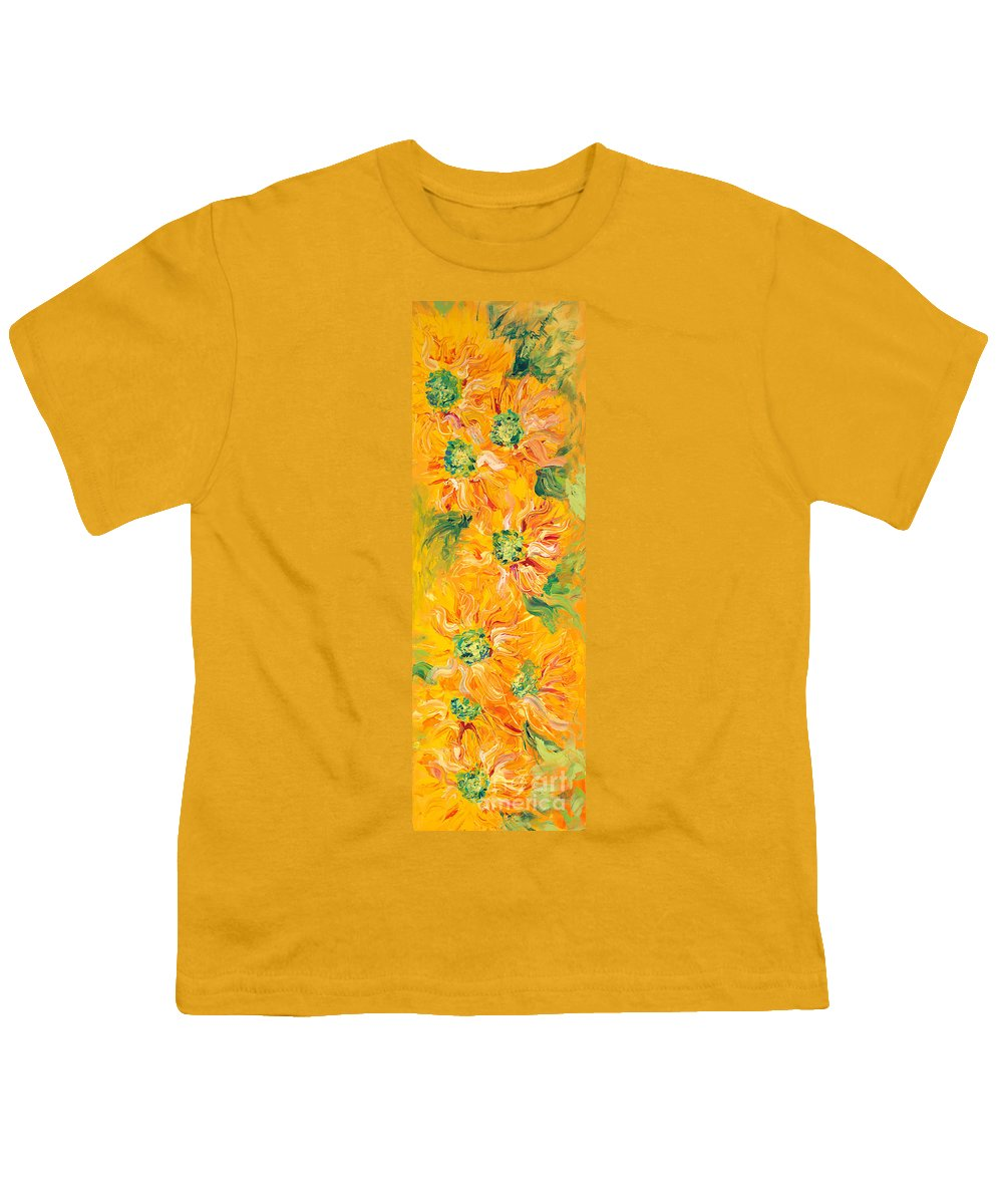 Yellow Youth T-Shirt featuring the painting Textured Yellow Sunflowers by Nadine Rippelmeyer