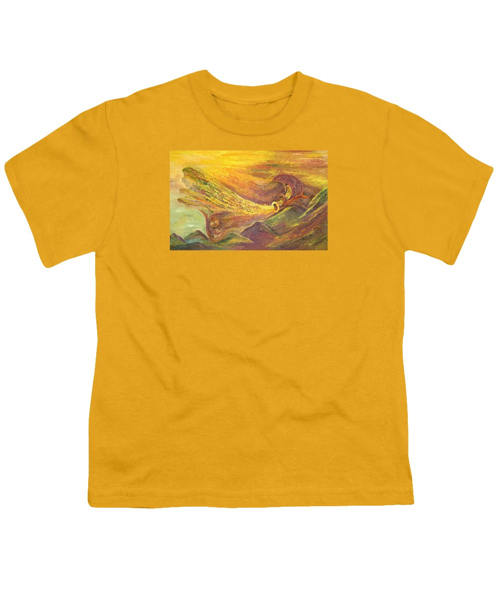 Autumn Youth T-Shirt featuring the painting The Autumn Music Wind by Karina Ishkhanova