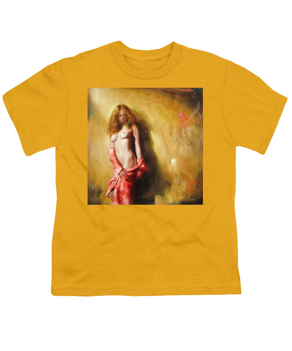 Art Youth T-Shirt featuring the painting The Sun In Red by Sergey Ignatenko