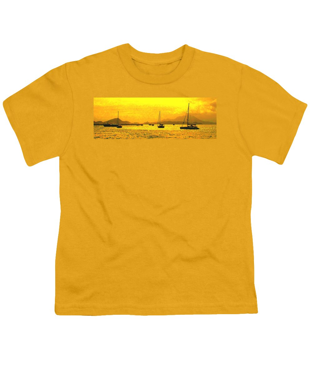 Basseterre Youth T-Shirt featuring the photograph Towards Nevis by Ian MacDonald