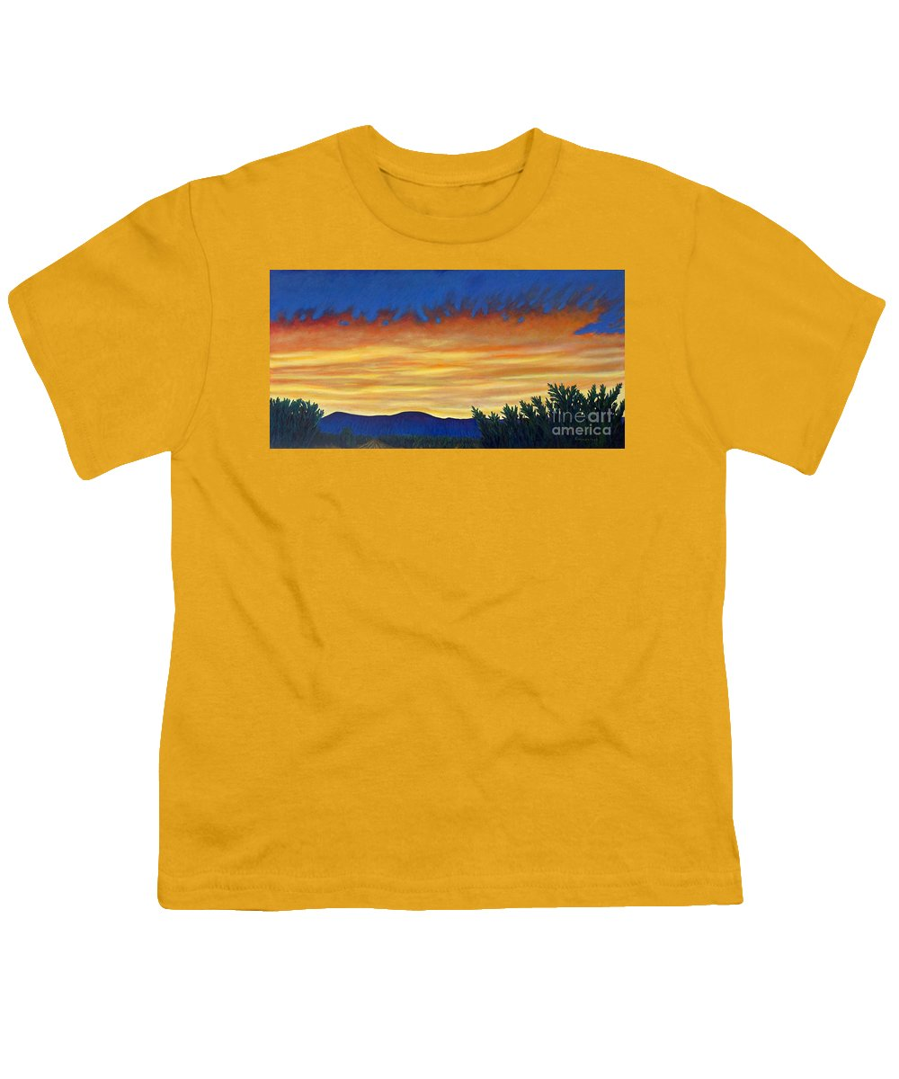 Sunset Youth T-Shirt featuring the painting Winter Sunset In El Dorado by Brian Commerford