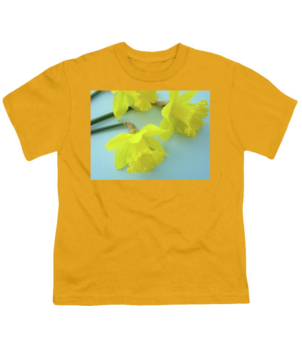 �daffodils Artwork� Youth T-Shirt featuring the photograph Yellow Daffodils Artwork Spring Flowers Art Prints Nature Floral Art by Baslee Troutman