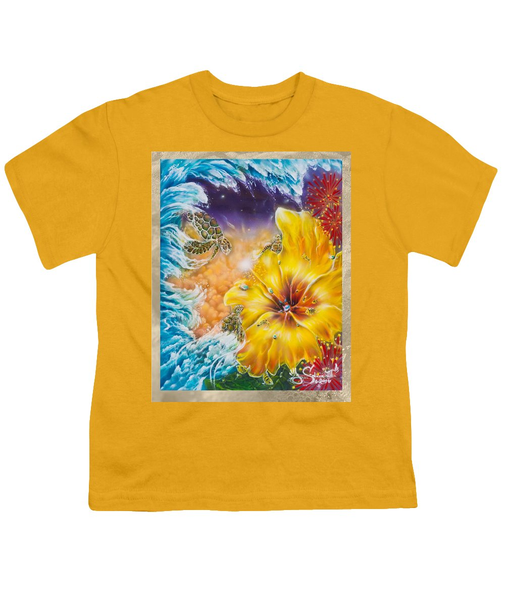 Aloha! Honu Hawaii Art Hibiscus Coral Reefs Flowers Floral Reefs Youth T-Shirt featuring the painting Wave of the Honu by Joel Salinas III