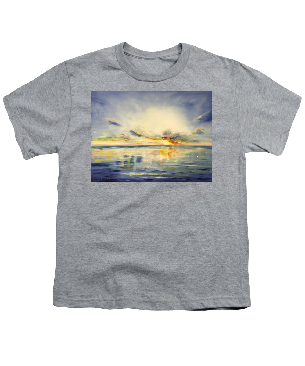 Blue Youth T-Shirt featuring the painting Blue Sunset by Gina De Gorna