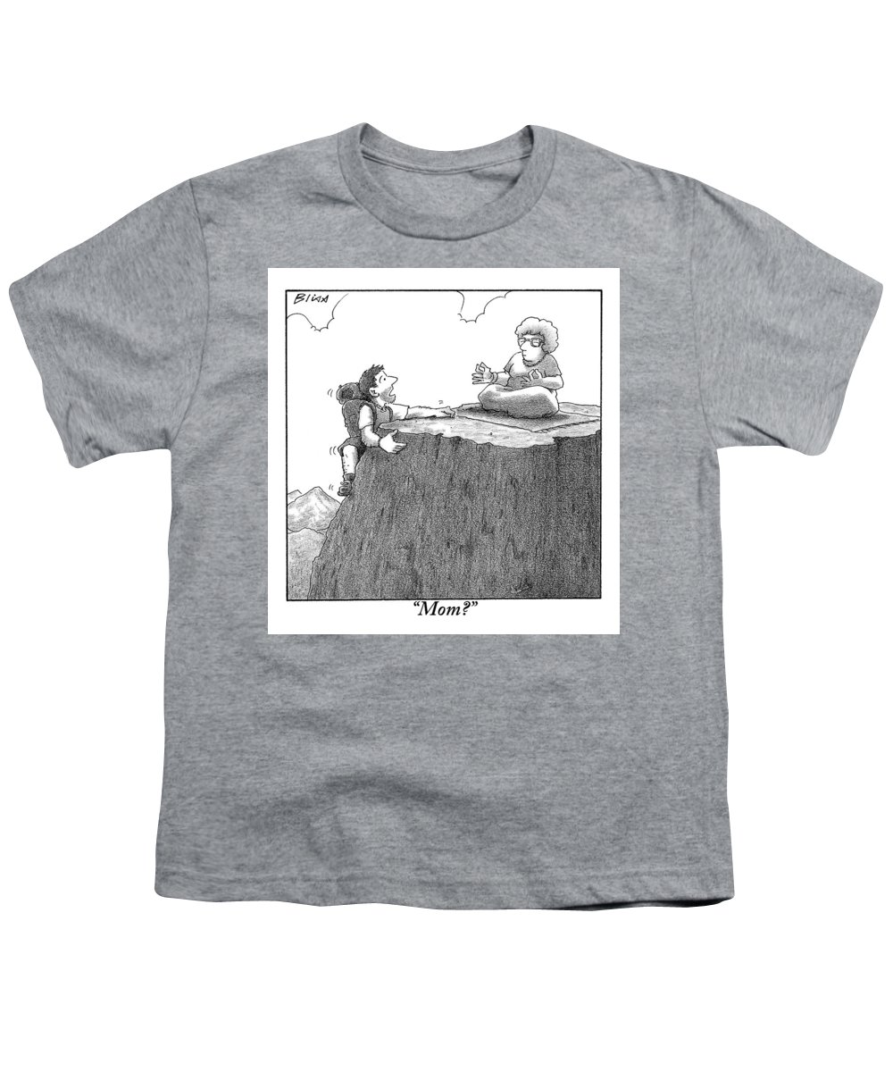 Gurus Youth T-Shirt featuring the drawing A Man Ascends A Mountain To Discover His Mother by Harry Bliss