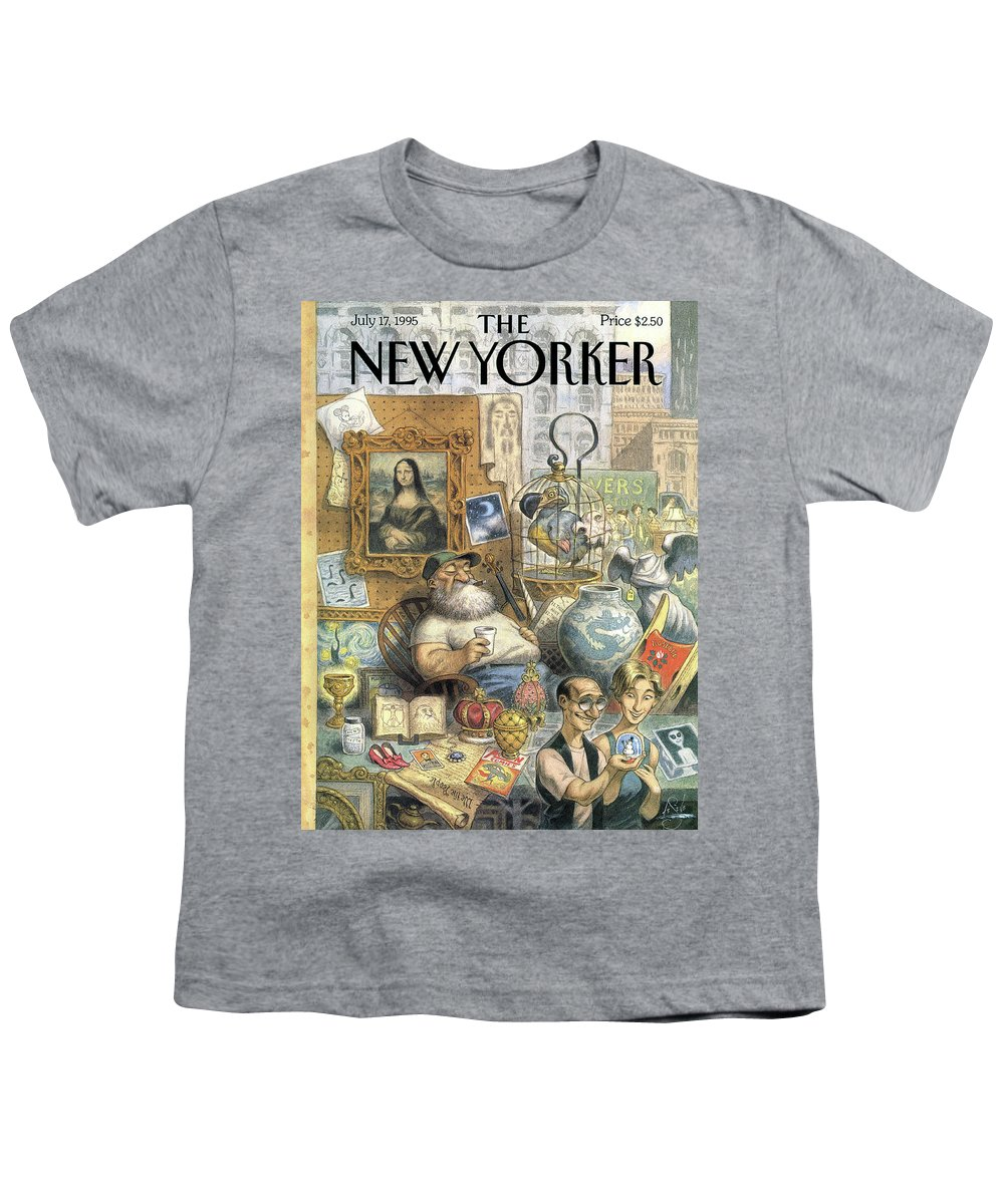 Treasure Youth T-Shirt featuring the painting A Shopkeeper Sells Odd Items by Peter de Seve