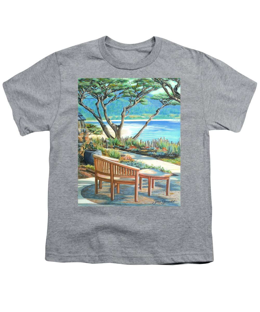Carmel Youth T-Shirt featuring the painting Carmel Lagoon View by Jane Girardot