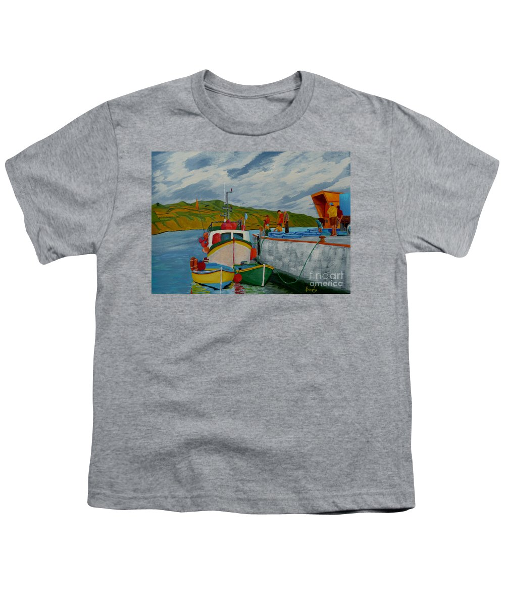 Boats Youth T-Shirt featuring the painting Catch Of The Day by Anthony Dunphy