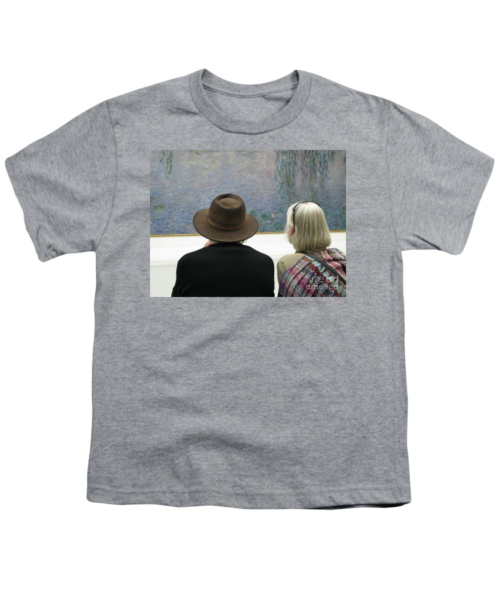 People Youth T-Shirt featuring the photograph Contemplating Art by Ann Horn