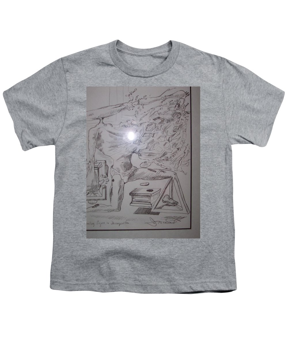 Youth T-Shirt featuring the painting Decomposition Of Kneeling Man by Jude Darrien