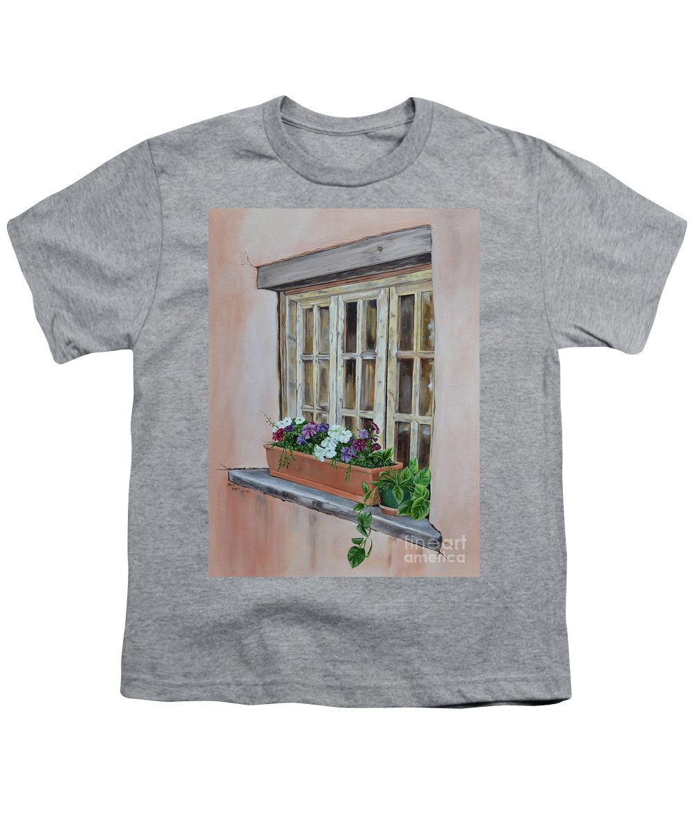 Adobe Youth T-Shirt featuring the painting Elayne Look Through The Window by Mary Rogers