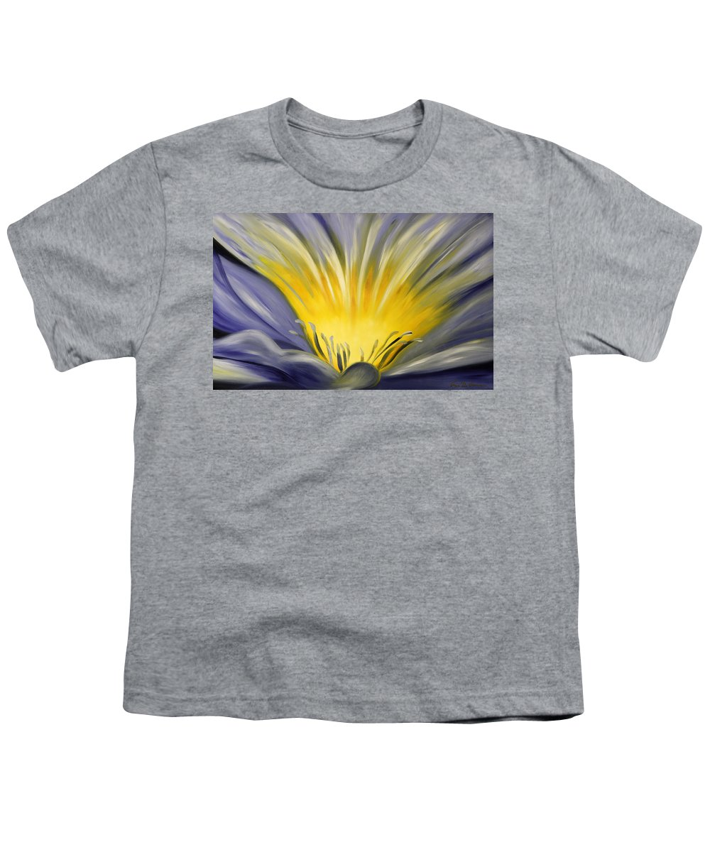 Blue Youth T-Shirt featuring the painting From The Heart Of A Flower Blue by Gina De Gorna