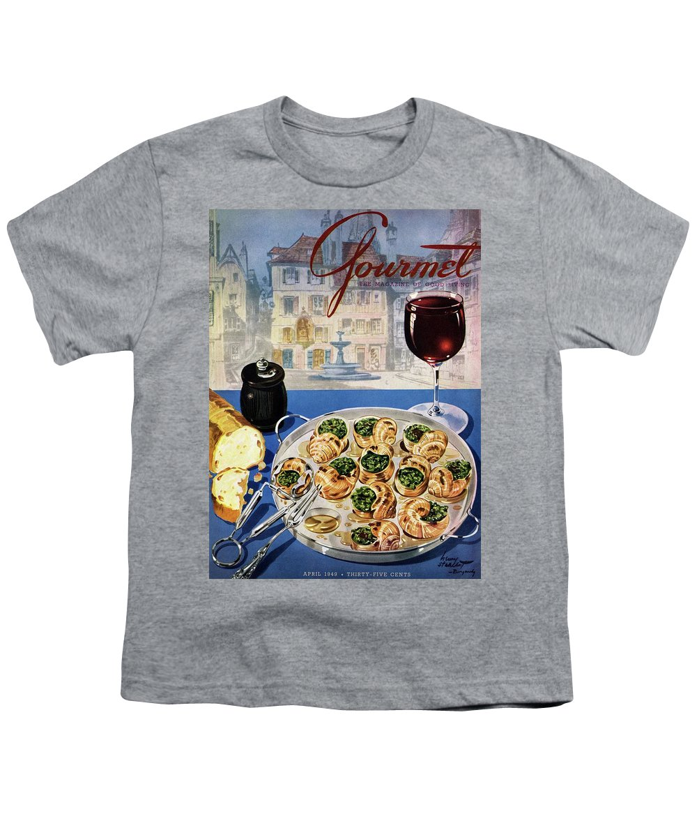 Food Youth T-Shirt featuring the photograph Gourmet Cover Illustration Of A Platter by Henry Stahlhut