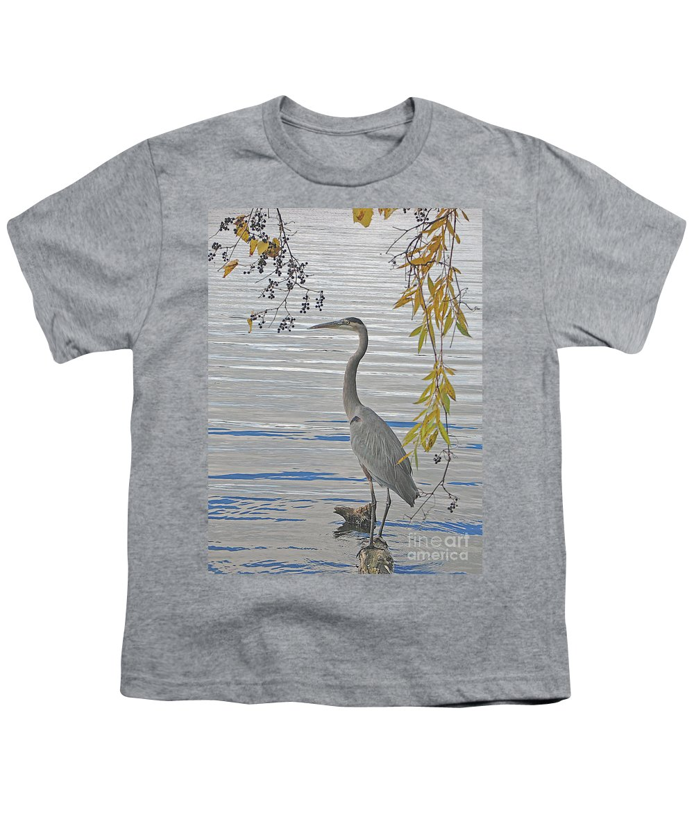 Heron Youth T-Shirt featuring the photograph Great Blue Heron by Ann Horn