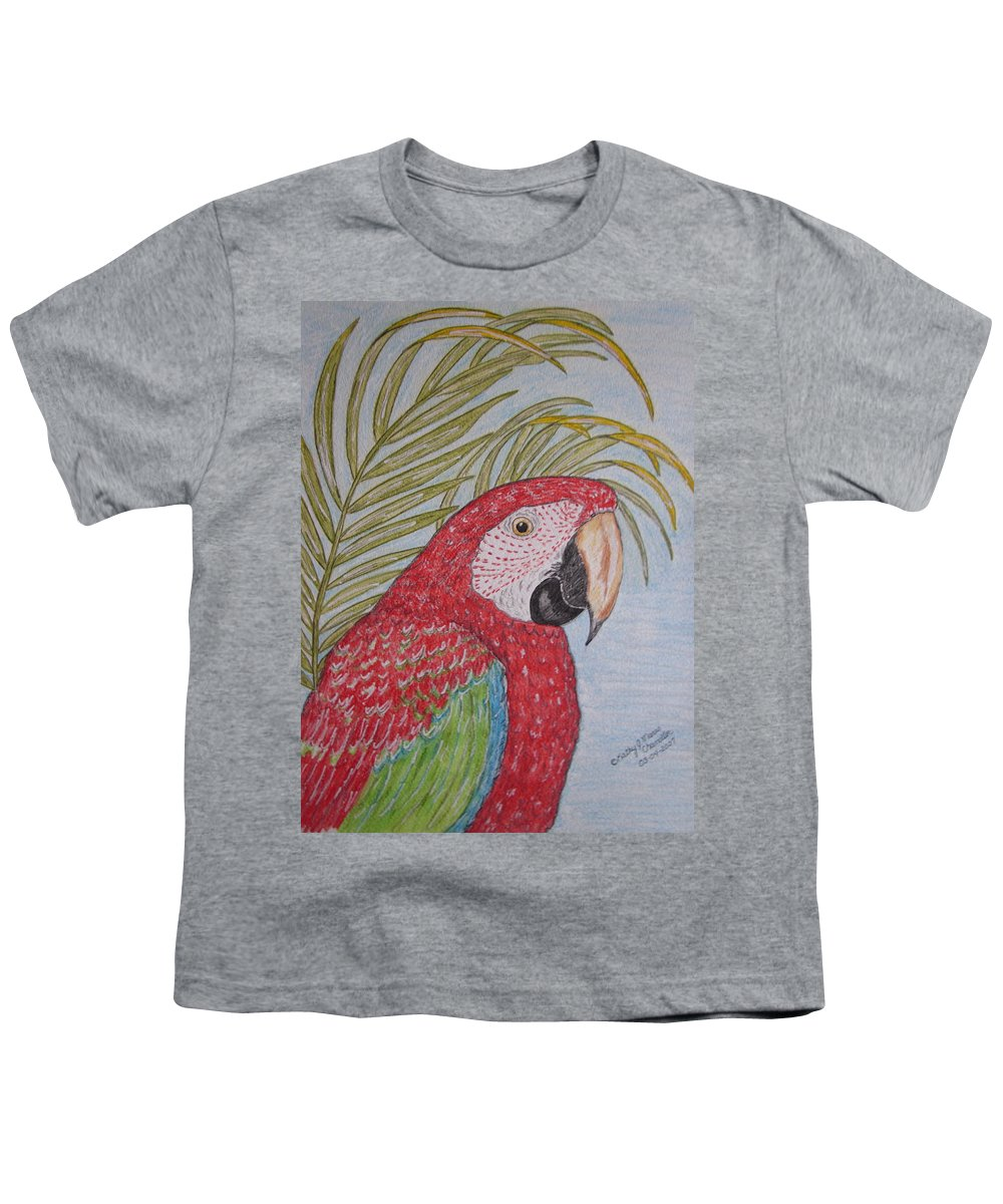 Green Wing Macaw Youth T-Shirt featuring the painting Green Winged Macaw by Kathy Marrs Chandler