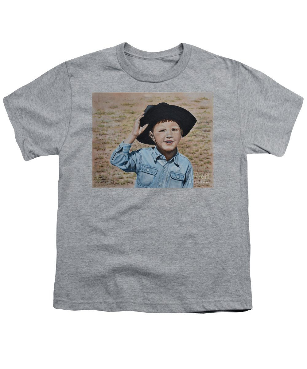 Usa Youth T-Shirt featuring the painting Howdy Ma'am by Mary Rogers