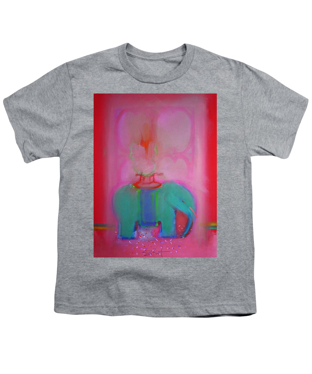 Elephant Youth T-Shirt featuring the painting Indian Elephant by Charles Stuart