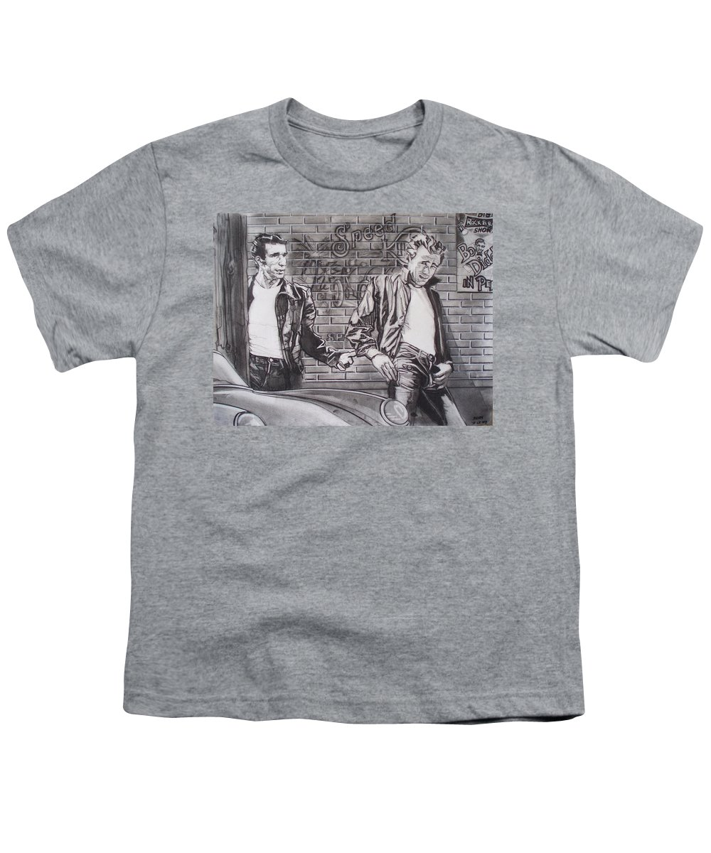 Americana Youth T-Shirt featuring the drawing James Dean Meets The Fonz by Sean Connolly