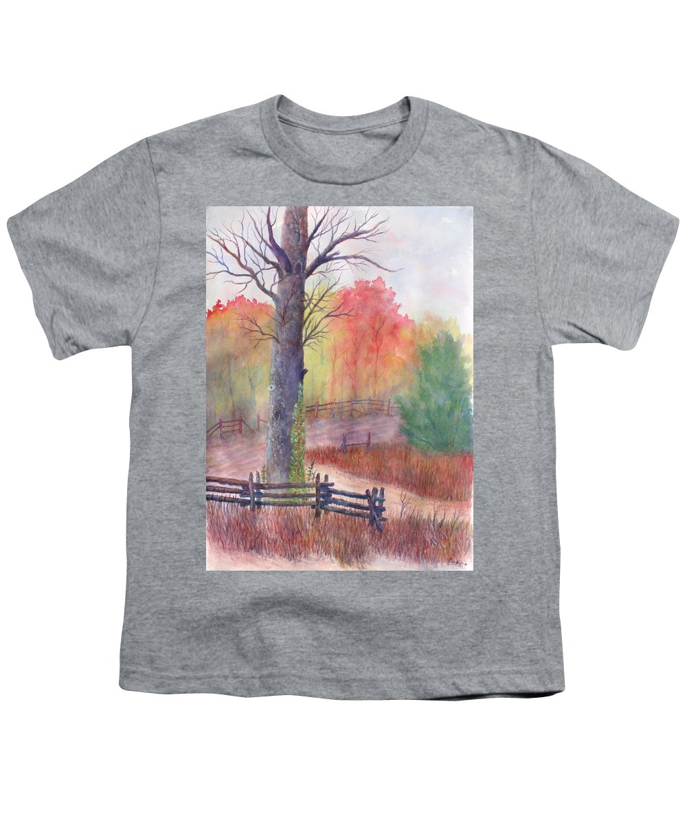 Fall Youth T-Shirt featuring the painting Joy of Fall by Ben Kiger
