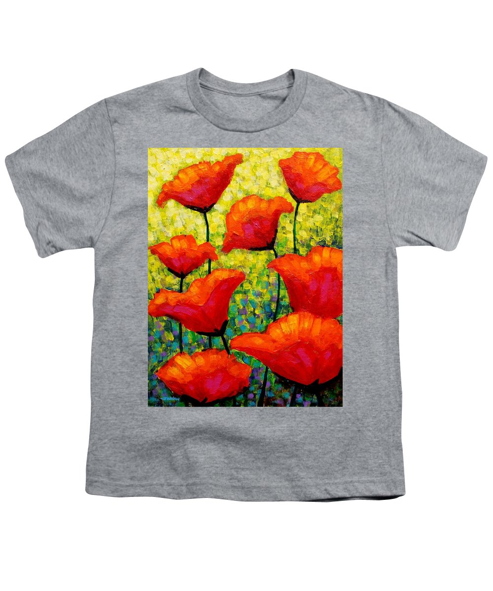 Poppies Youth T-Shirt featuring the painting Mischa's Poppies by John Nolan