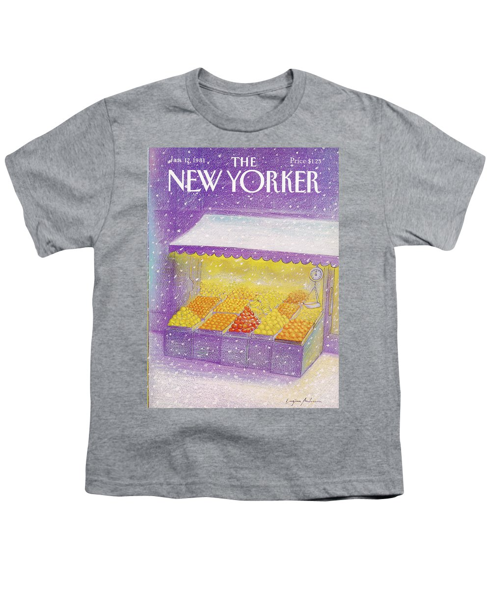 Season Youth T-Shirt featuring the painting New Yorker January 12th, 1981 by Eugene Mihaesco
