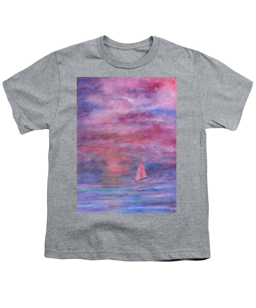 Saling Youth T-Shirt featuring the painting Sunset Adventure by Ben Kiger