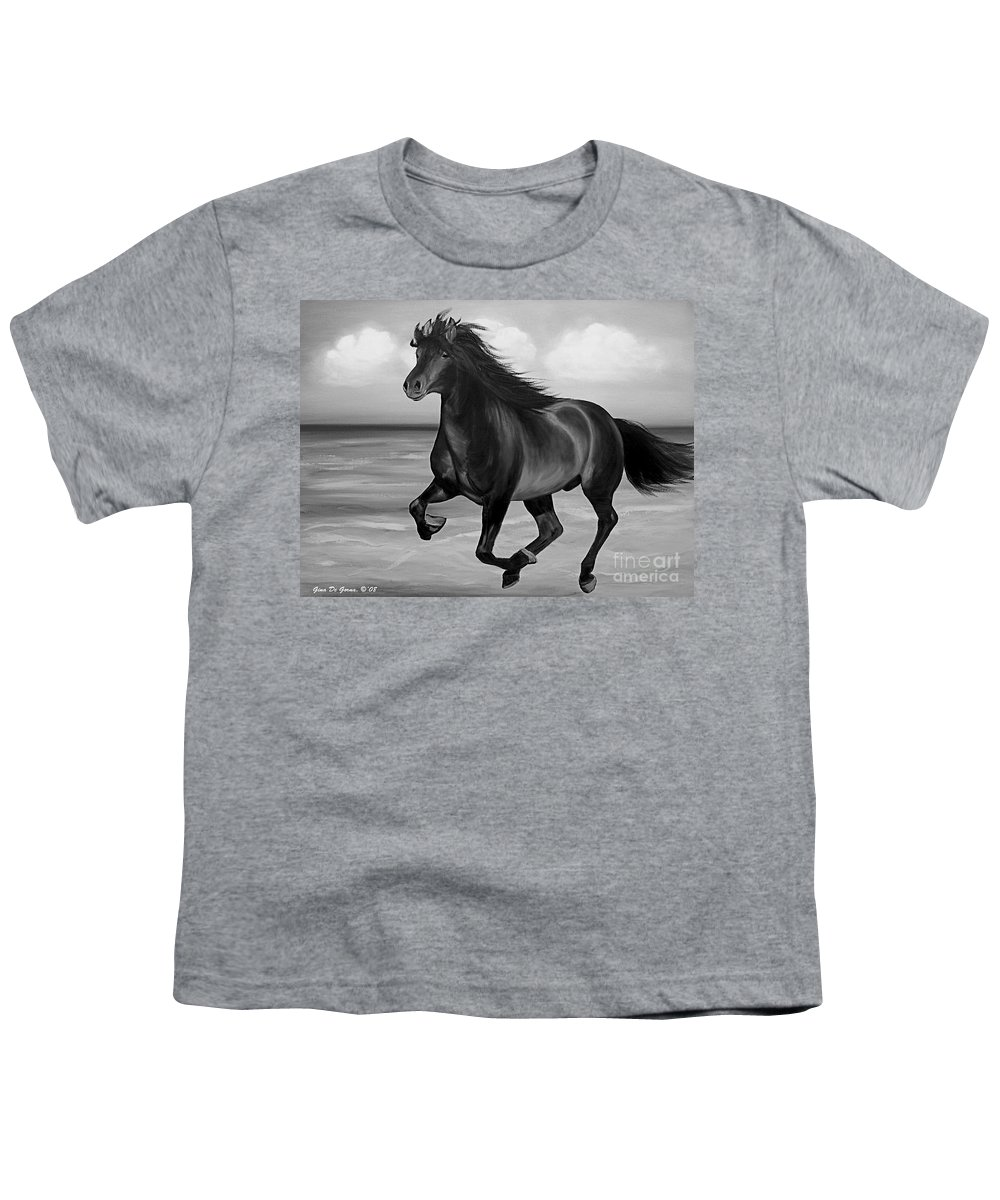 Horses Youth T-Shirt featuring the painting Horses In Paradise Run by Gina De Gorna
