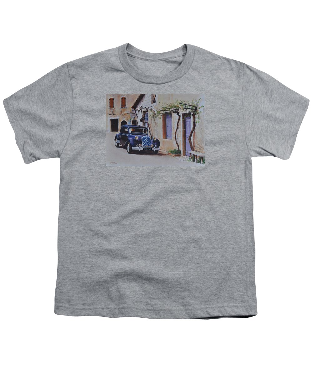 Classic Cars Youth T-Shirt featuring the painting 1951's Citroen by Iliyan Bozhanov