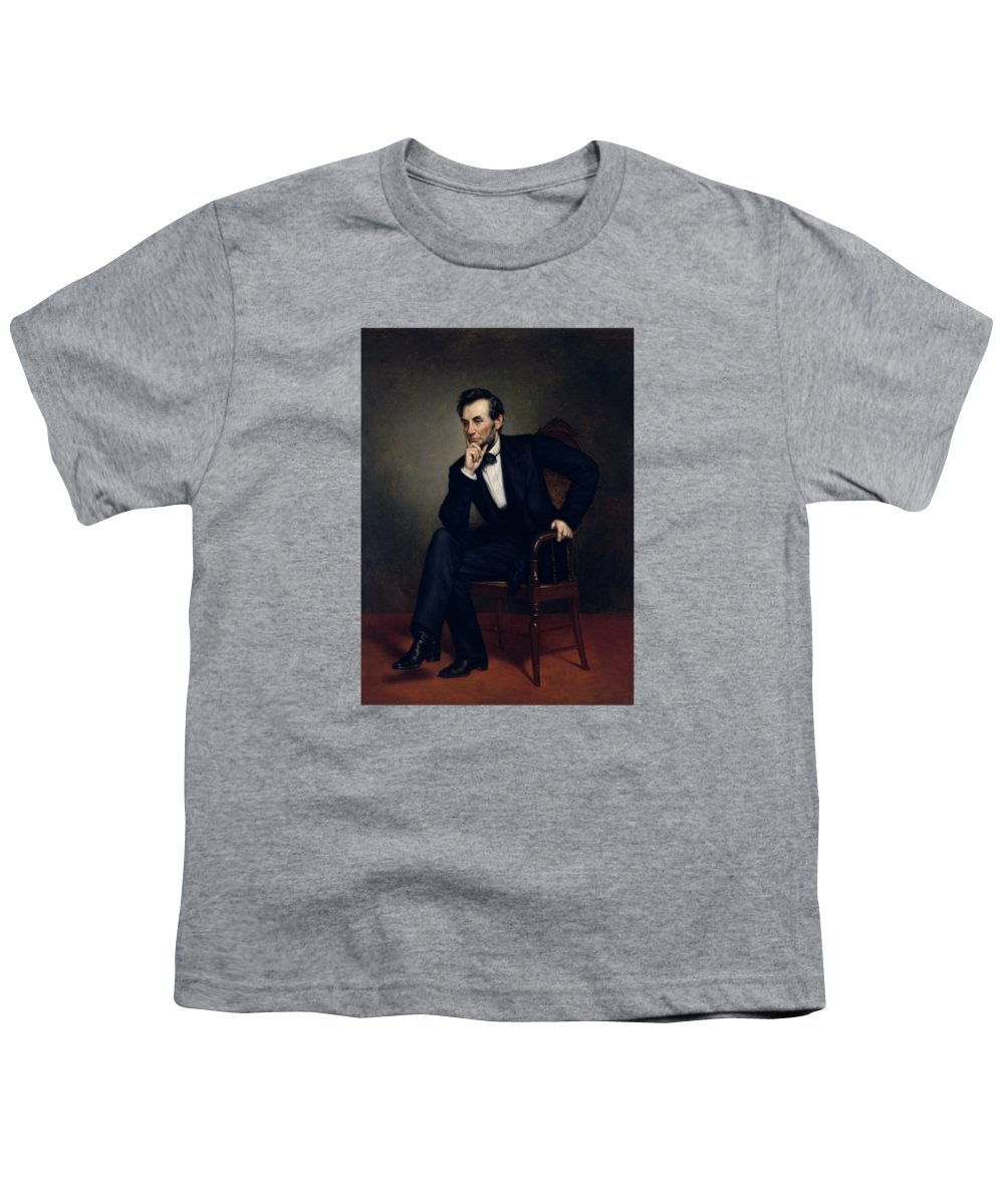 Abraham Lincoln Youth T-Shirt featuring the painting President Abraham Lincoln by War Is Hell Store