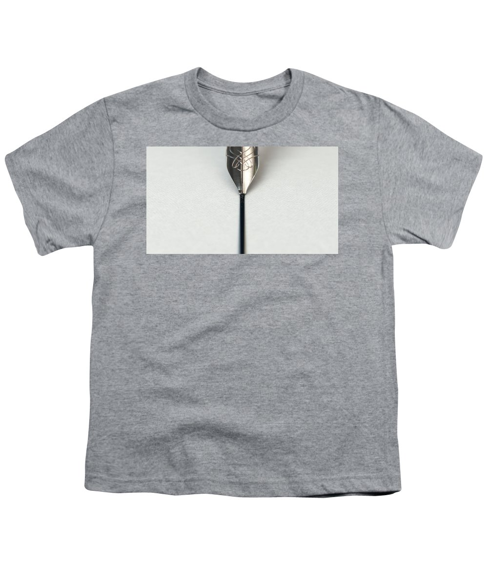 Pen Youth T-Shirt featuring the digital art Fountain Pen Drawing Line by Allan Swart
